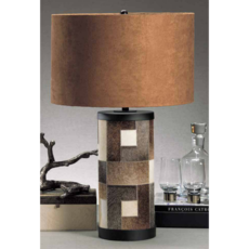 MH Table Lamp - Patchwork Hair on Leather Lamp - 18x29