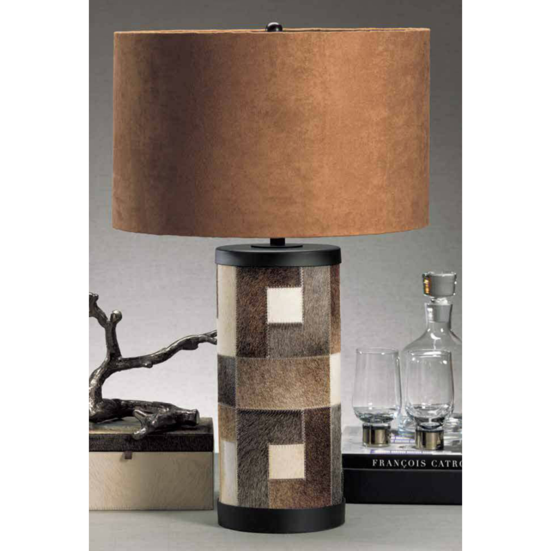 MH Table Lamp - Patchwork Hair on Leather Lamp