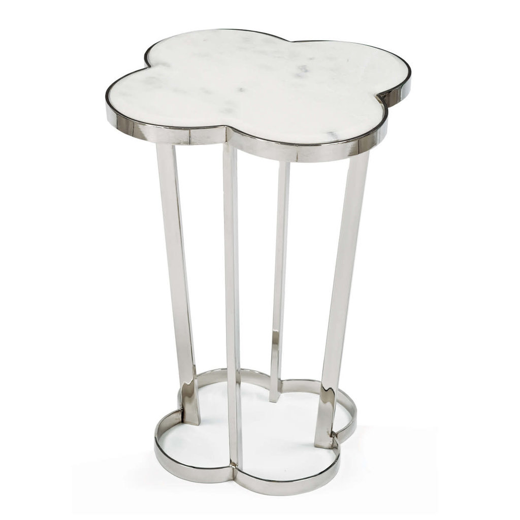 MH Side Table - Clover - White Marble - 18.25W x 24H -