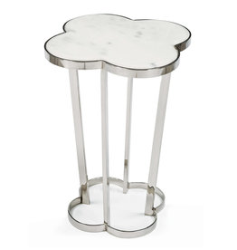 MH Side Table - Clover - White Marble - Nickel