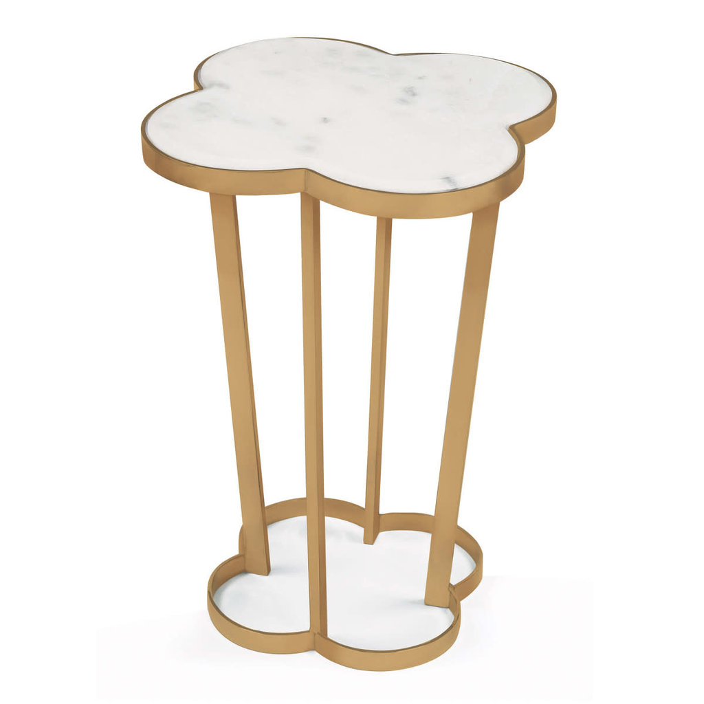 MH Side Table - Clover - White Marble & Natural Brass