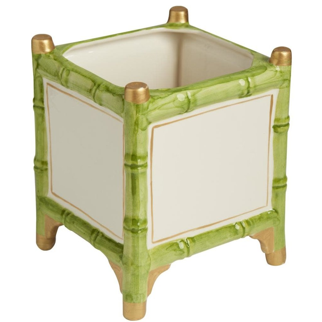 MH Cachepot - Bamboo - Green & Gold Discounts - 2 Sizes