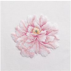 MH Hand Towel - Pink Peony - White Cotton