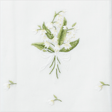 MH Hand Towel - Lily of the Valley - White Cotton