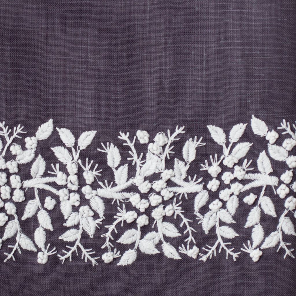 MH Hand Towel - Jardin - White on  Charcoal - Linen