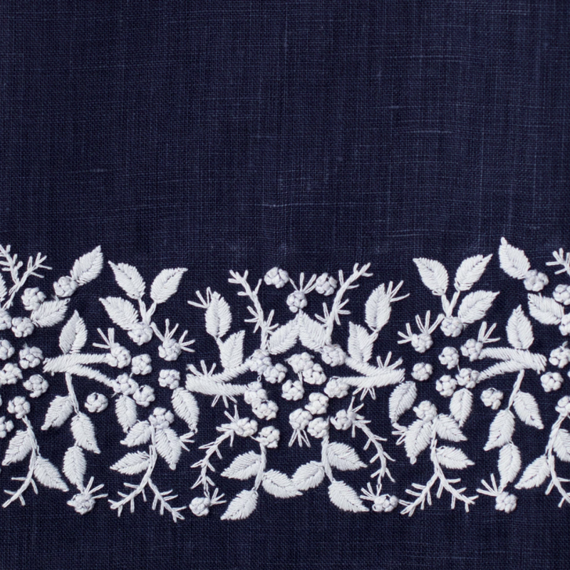MH Hand Towel - Jardin - White on  Navy - Linen