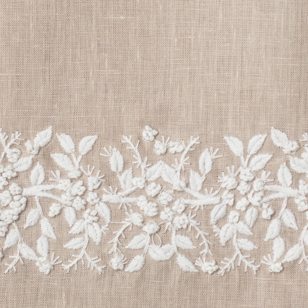 MH Hand Towel - Jardin - White on  Taupe - Linen