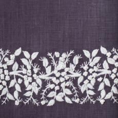 MH Tissue Box Cover - Jardin - White on Charcoal -  ItalianLinen