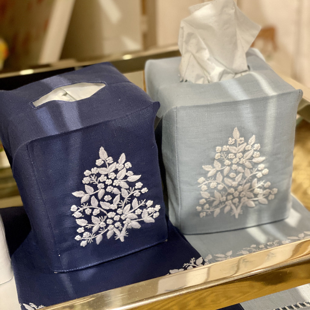 MH Tissue Box Cover - Jardin - White on Navy -  ItalianLinen