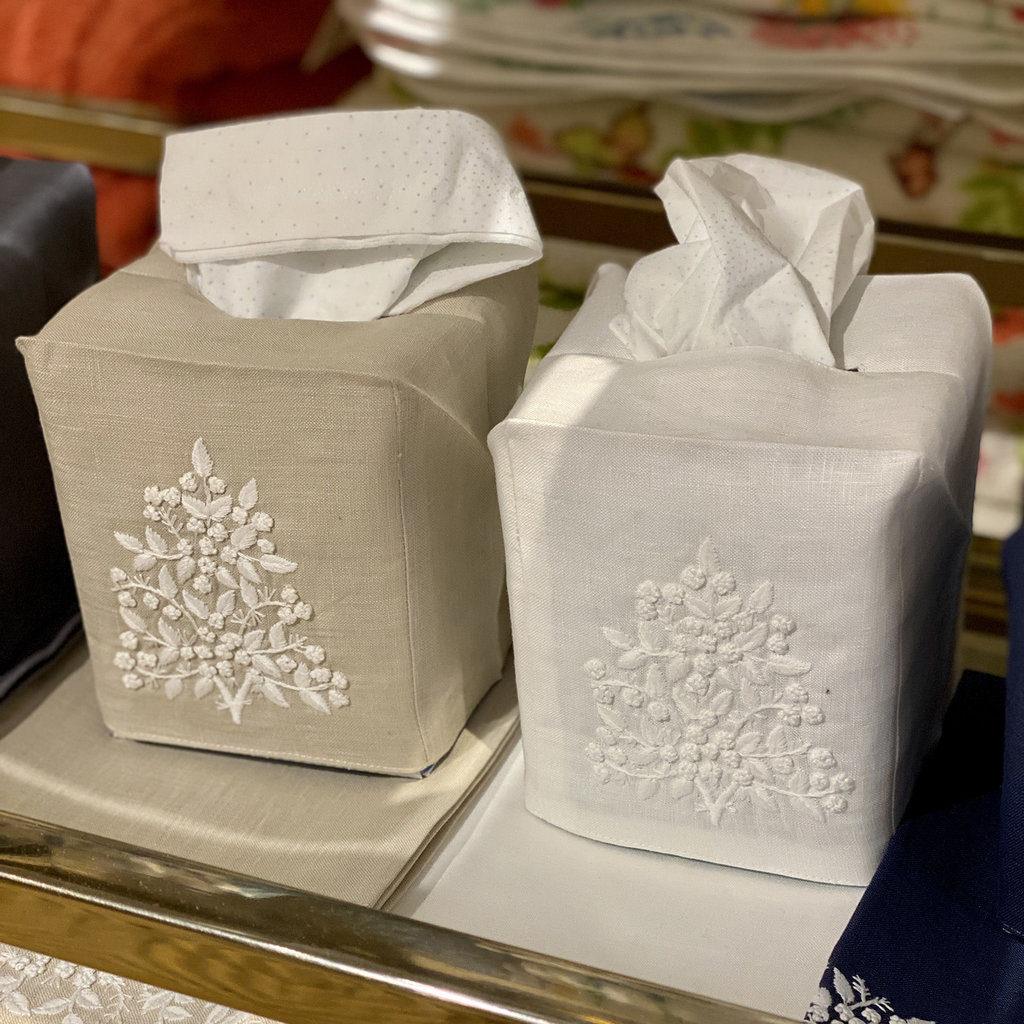 MH Tissue Box Cover - Jardin - White on Taupe -  ItalianLinen