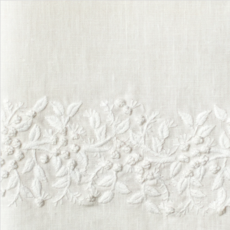 MH Tissue Box Cover - Jardin - White on White -  ItalianLinen