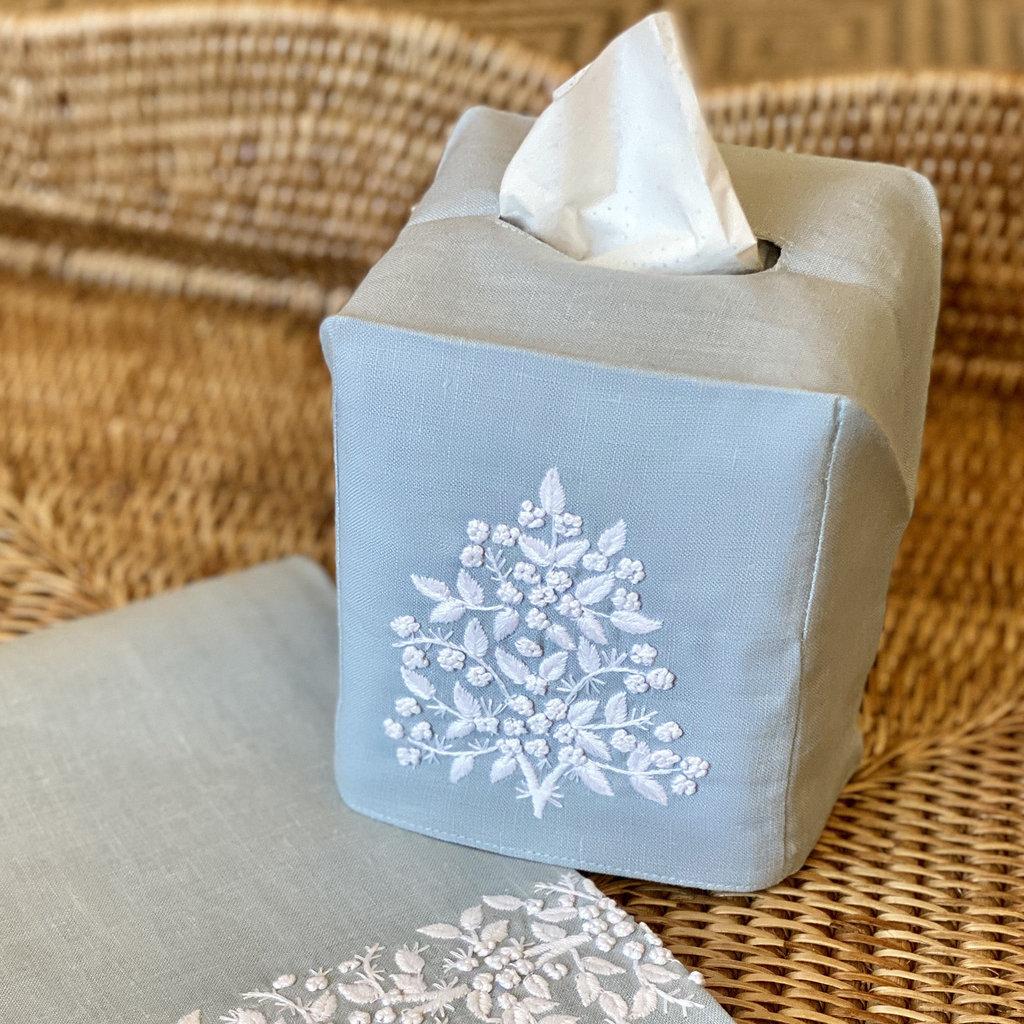 MH Tissue Box Cover - Jardin - White on Blue Sky -  ItalianLinen
