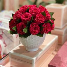 MH Preserved Arrangement - Hot Pink Garden Roses White Vase - 5x5x6