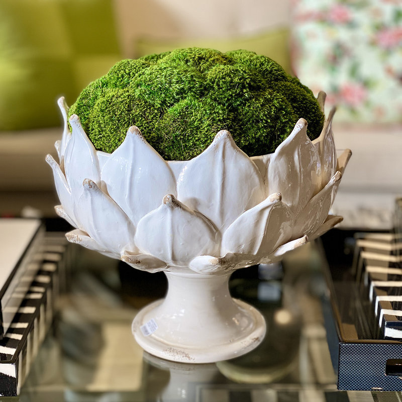 MH Preserved Arrangement - Italian Artichoke Bowl with Moss - 12x12x14