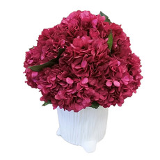 MH Dried Arrangement - Pink Hydrangea in Faux Bois Pot - 8Dx10.5H