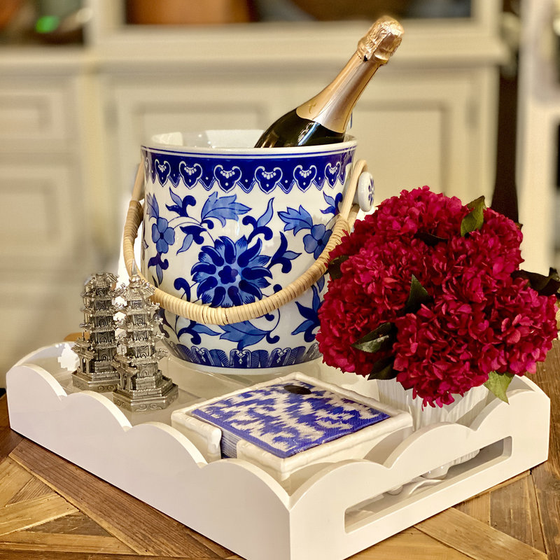 MH Wine Bucket - Blue & White Chinoiserie