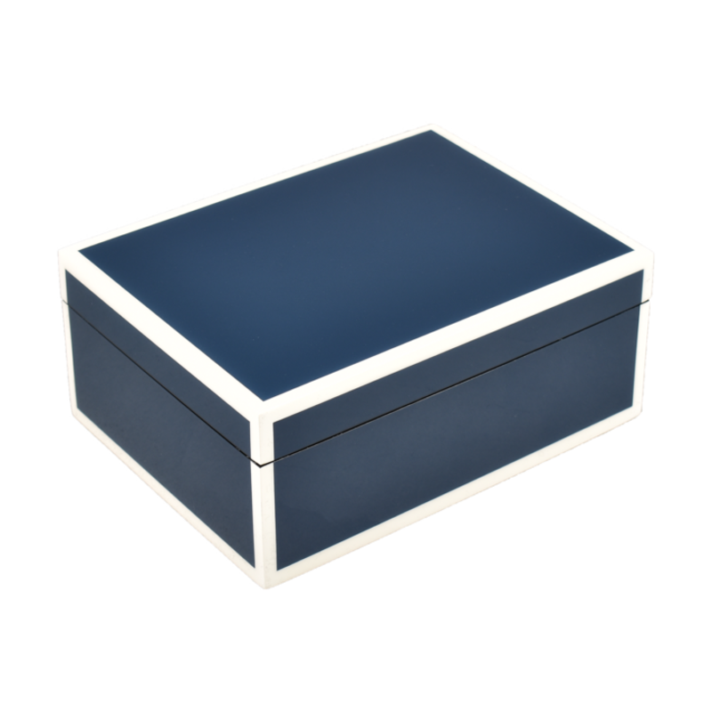 MH Box - Lacquered - Navy Blue w/ White Trim - More Sizes