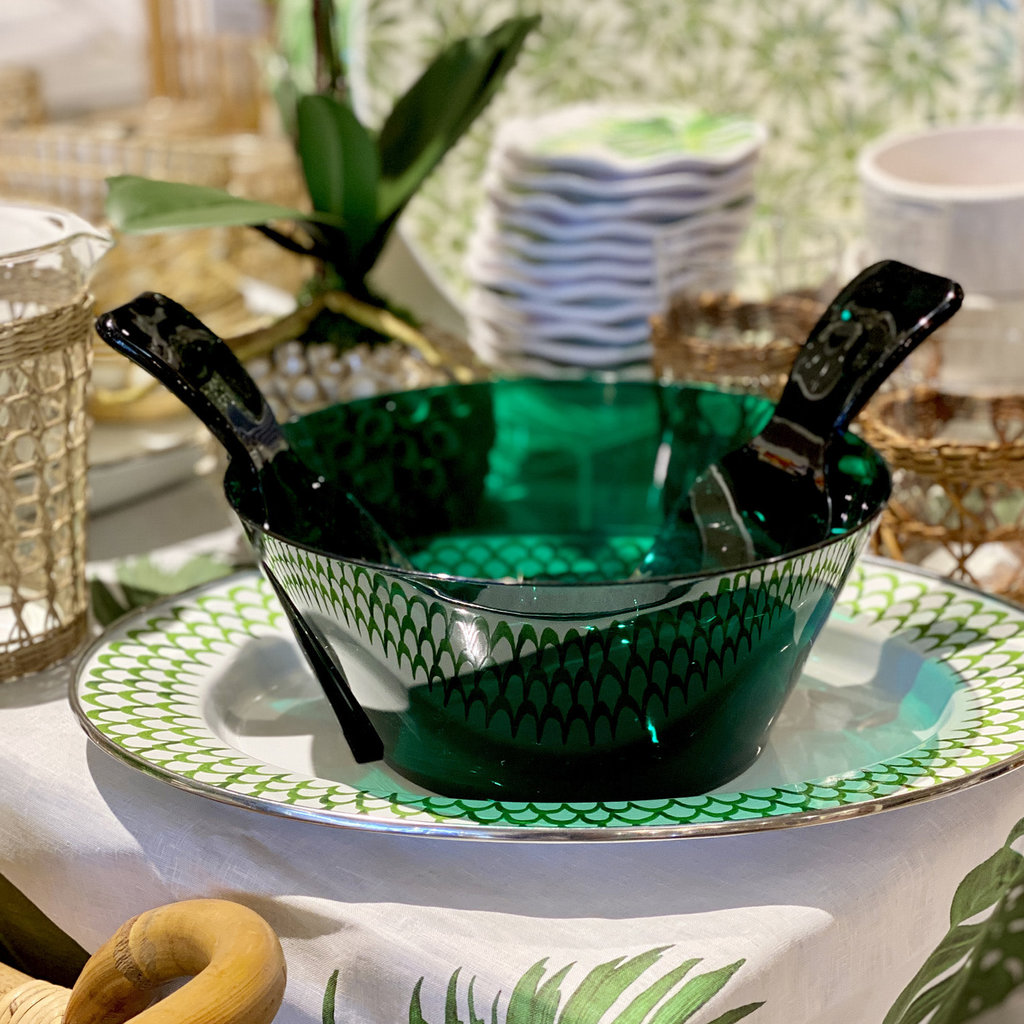 MH Salad Bowl w/Servers - Synthetic Crystal - Green