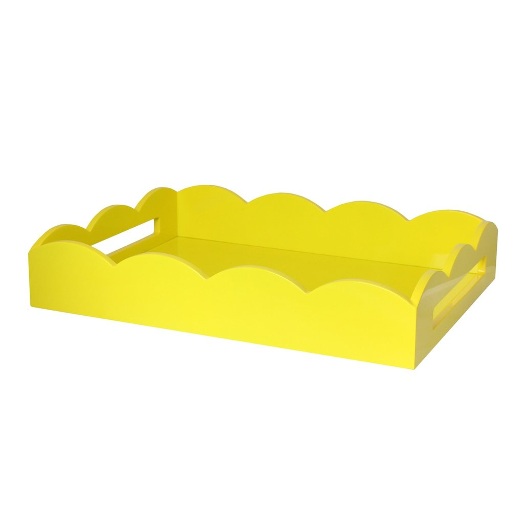 MH Tray - Scalloped Lacquered - Yellow - 2 Sizes
