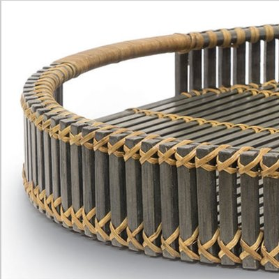 Tray - Adair - Rattan - Dark Gray/Natural - 22.5x3.25