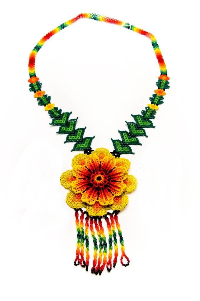 Huichol 3d Beaded Peyote Flower Necklace