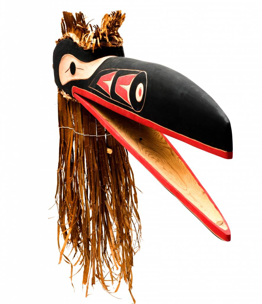 Raven Mask with Cedar Bark by David Louis Jr. (Musqueam).