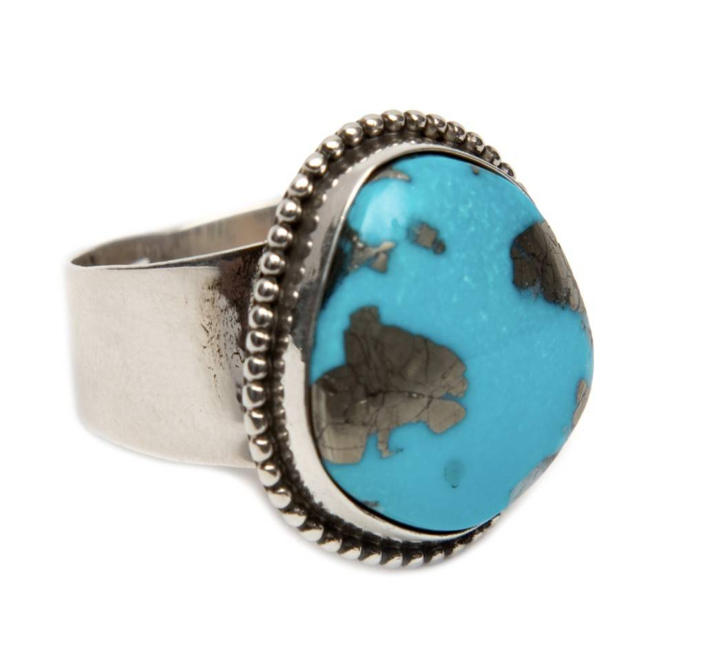 Natural Kingman Turquoise Ring by Bryant Martinez (Navajo)