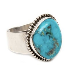 Natural Blue Diamond Turquoise Ring by Bryant Martinez