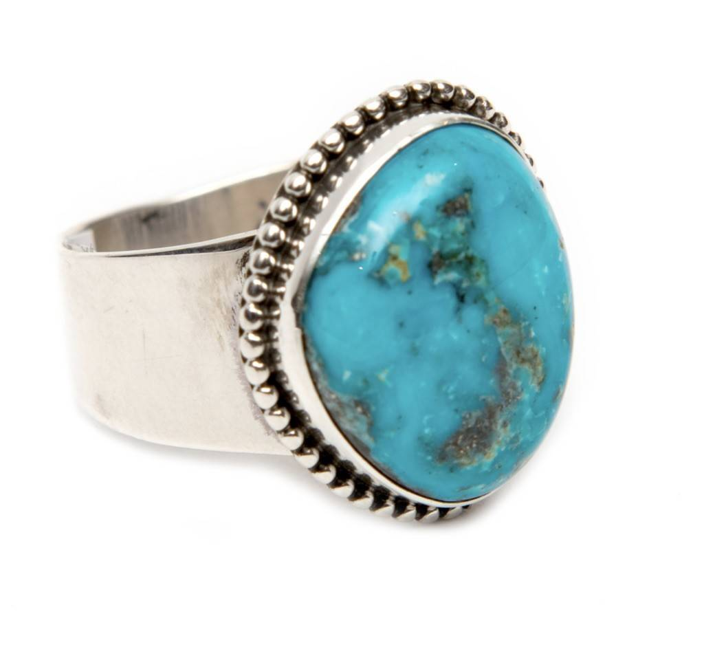 Natural Blue Diamond Turquoise Ring by Bryant Martinez (Navajo)