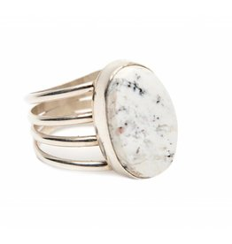 White Buffalo Turquoise Ring by Randy and Etta Endito