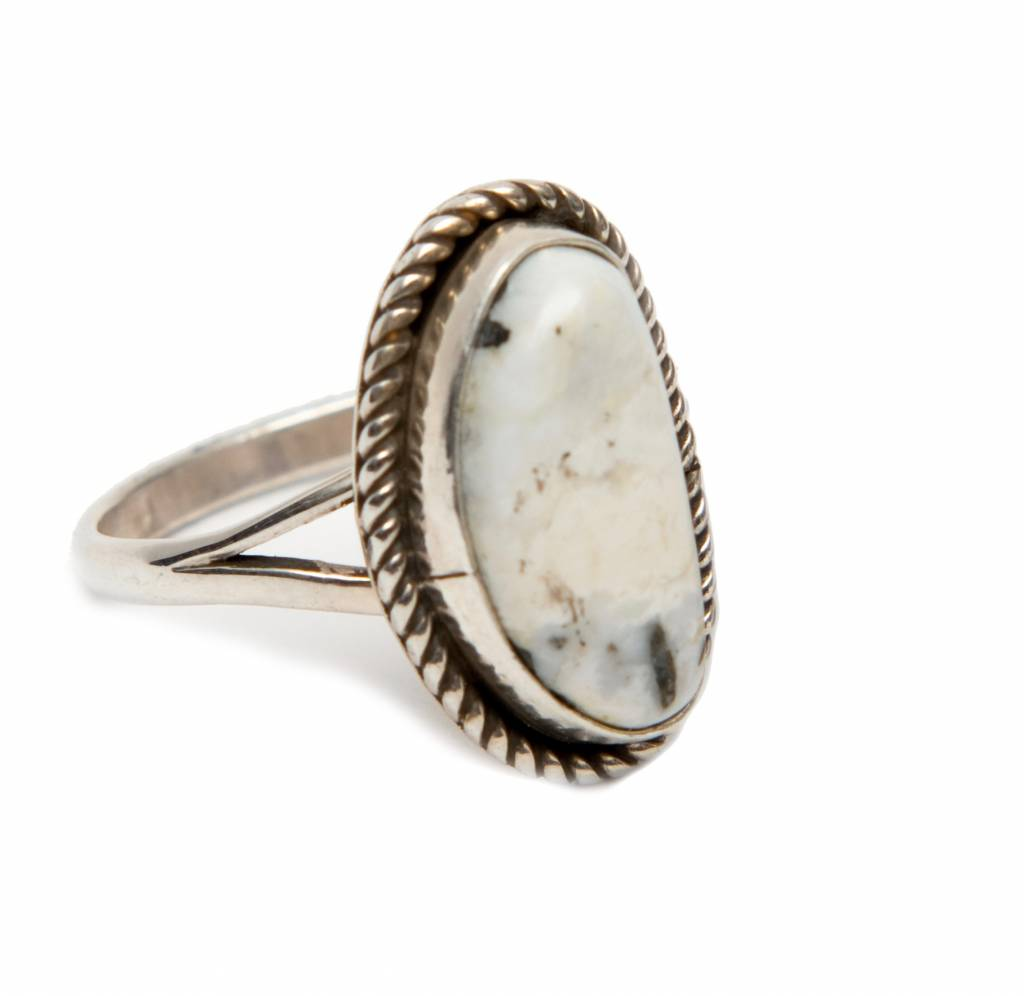 White Buffalo Turquoise Ring by Randy and Etta Endito (Navajo)