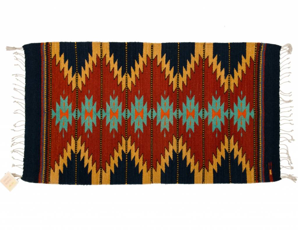Small Hand Made Brightly Coloured Rug (Zapotec)
