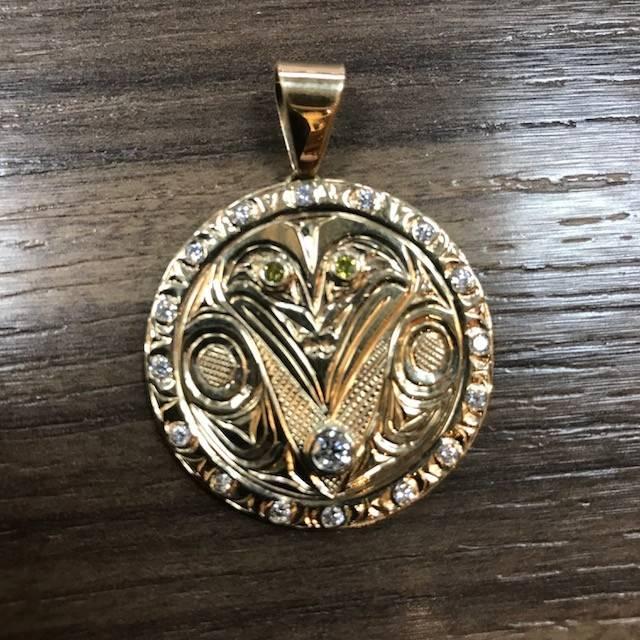 14k Gold Raven Pendant w/ 19 diamonds by Ritchie Baker