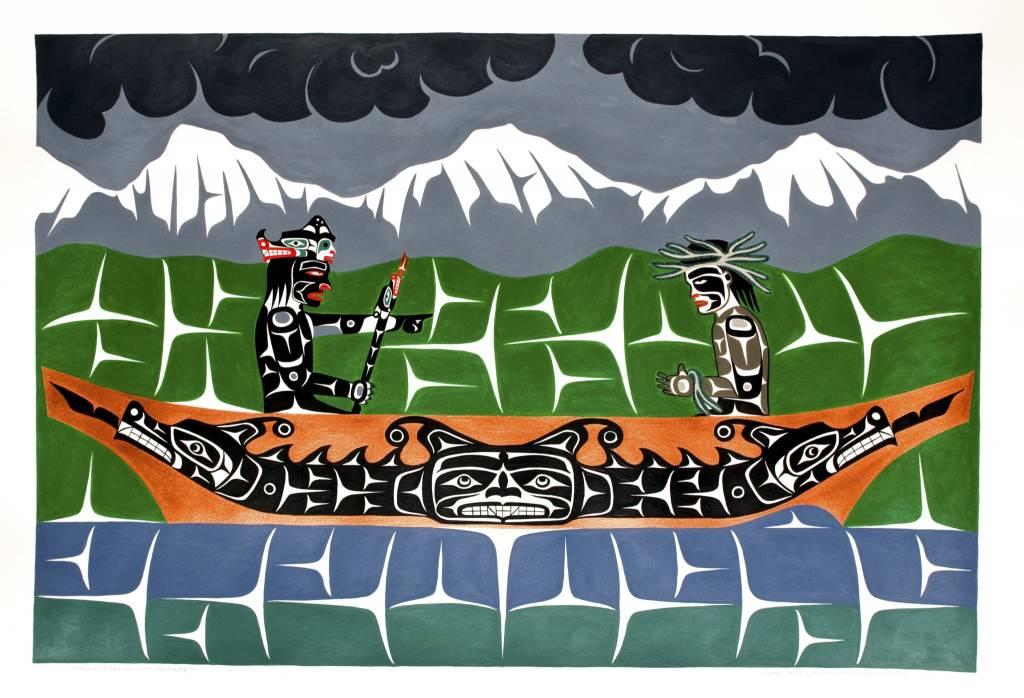 tsaw 'Winalaglis with Initiate' Painting by Gord Hill (Kwakwakawakw).