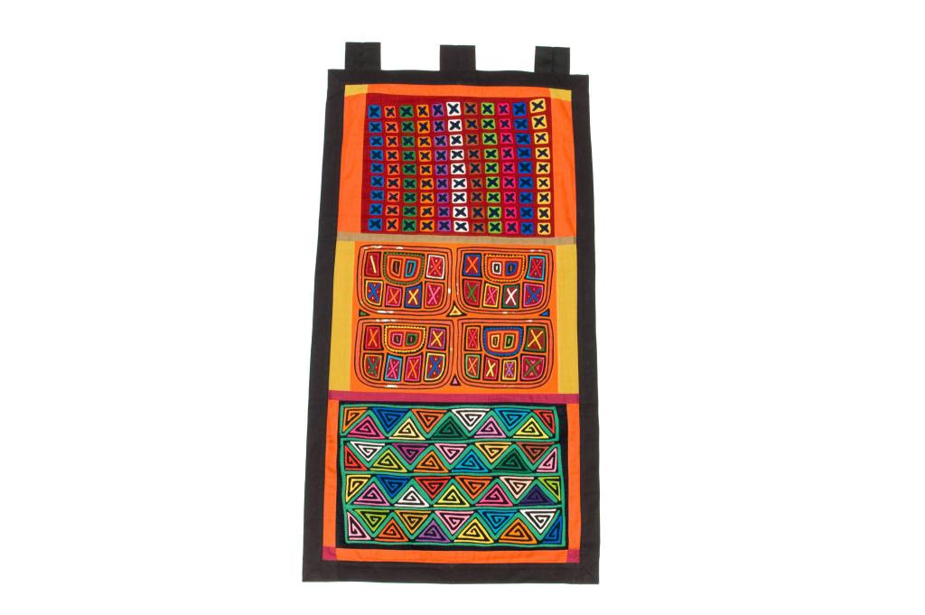 Wall Hanging constructed from 3 Molas (Kuna).