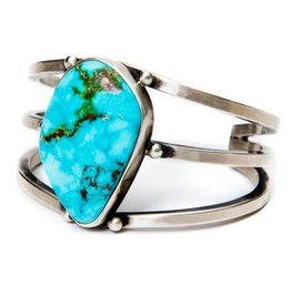 Natural Turquoise Mountain Turquoise Bracelet by Randy and Etta Endito