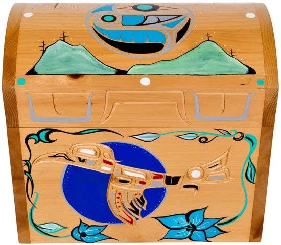 Hummingbird Chest carved and painted by Adrian Wilson (Homalco).