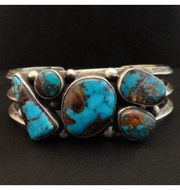 5 Stone Natural Candelaria Turquoise Bracelet by Randy and Etta Endito