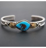 Tsaw Tyrone Turquoise Bracelet by Randy and Etta Endito (Navajo).