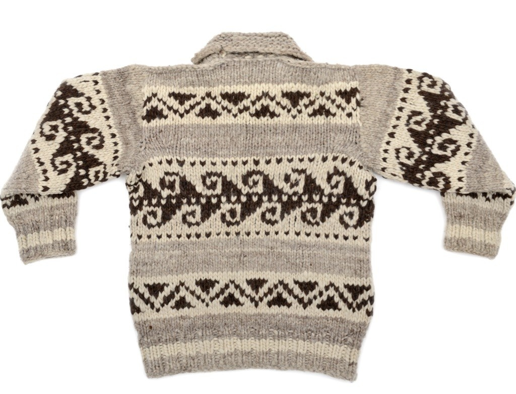 Wave Pattern Pullover Cowichan Sweater