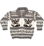 XXL Thunderbird and Orca Cowichan Sweater with Lightning