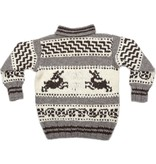 Large Cowichan Sweater - Bounding Deer design