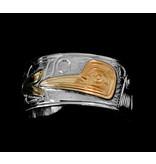 "14 Kt Gold/Silver C. Harper Band - 3/8"" Wide"