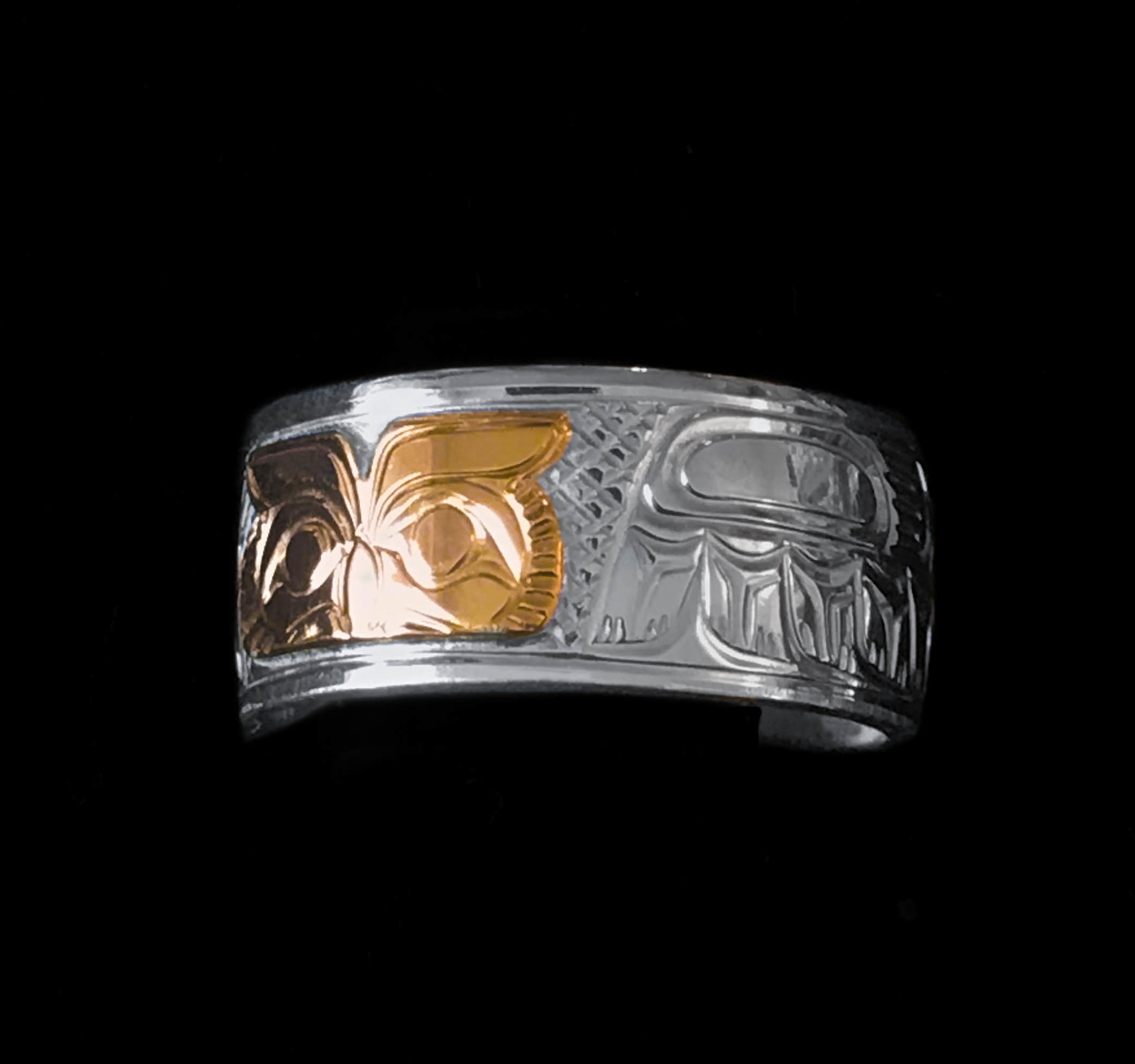 "3/8"" Wide Silver Rings with 14 kt Gold Onlay by Charles Harper"
