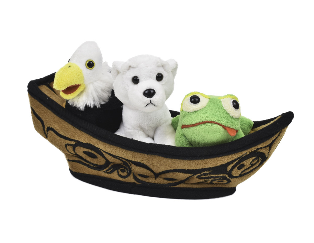"12"" Bill Helin canoe with 3 finger puppets"