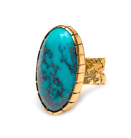 14Kt Gold Ring with Bisbee Turquoise by Terrence Campbell.