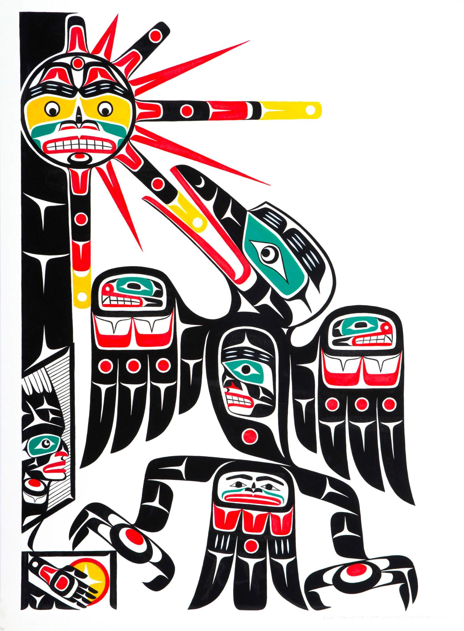 'Raven Stealing the Sun' Original Painting by Gord Hill (Kwakwakawakw).