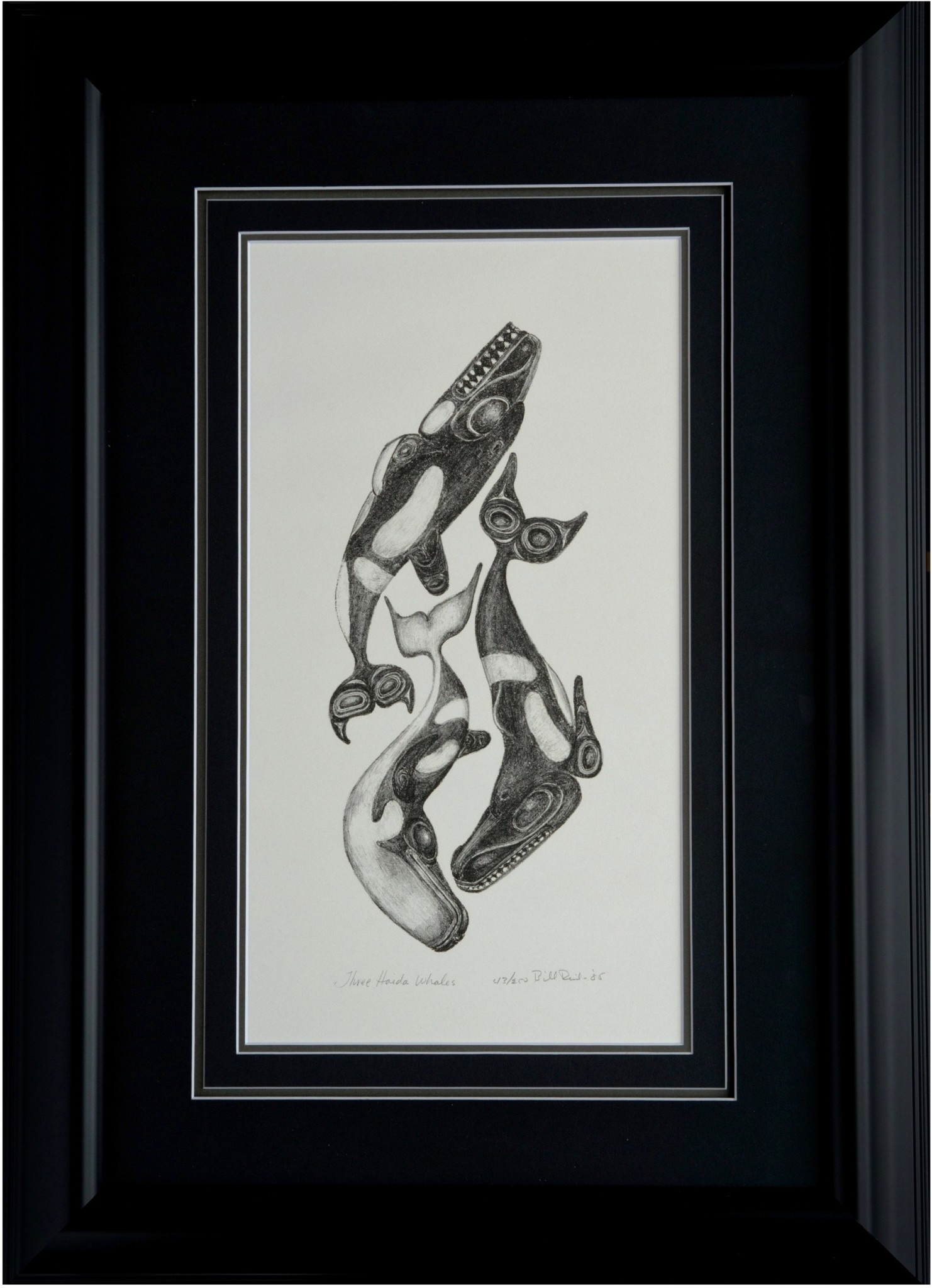 Three Haida Whales framed print by Bill Reid