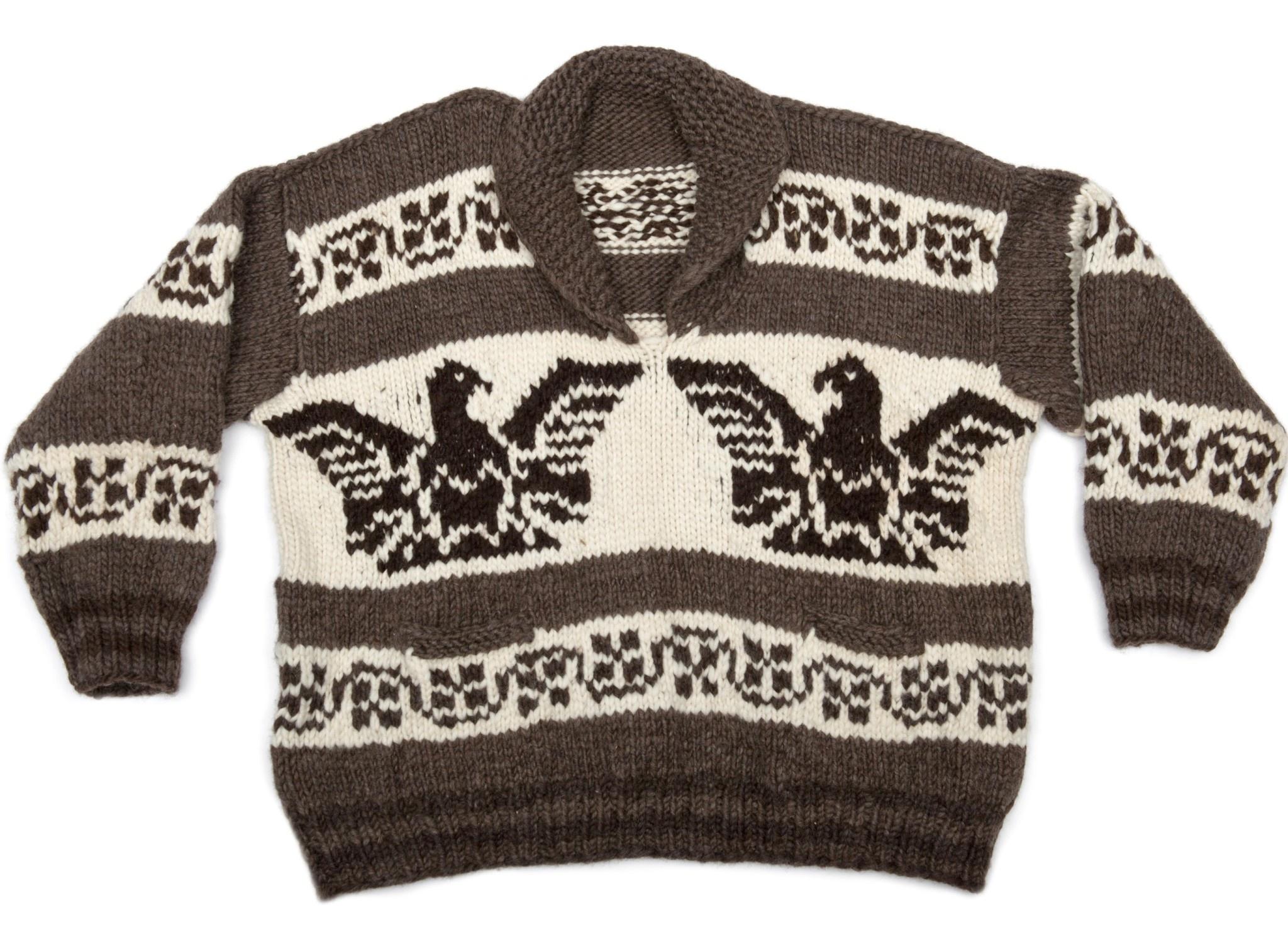 Plus size Cowichan Sweater Thunderbird design