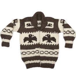 Med. Eagle Cowichan Sweater with Orcas